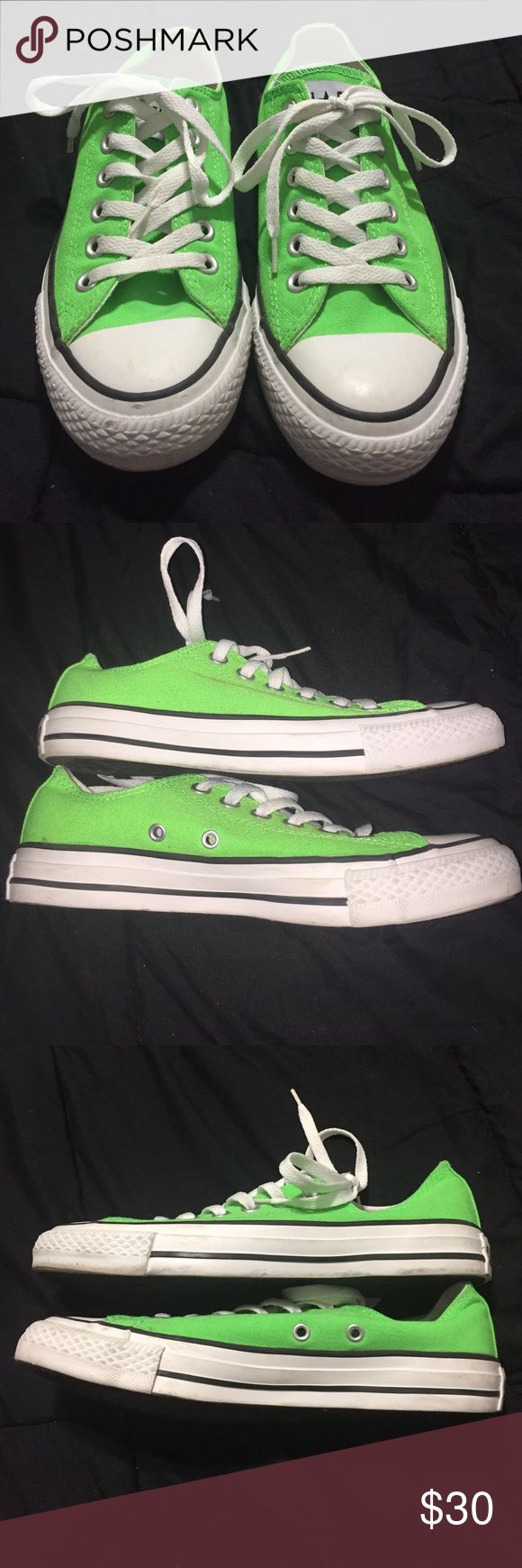 Neon green Converse neon green converse. Worn a few times so there are a few dirty spots from use. Still in great condition! Women's 8 or men's 6 Converse Shoes