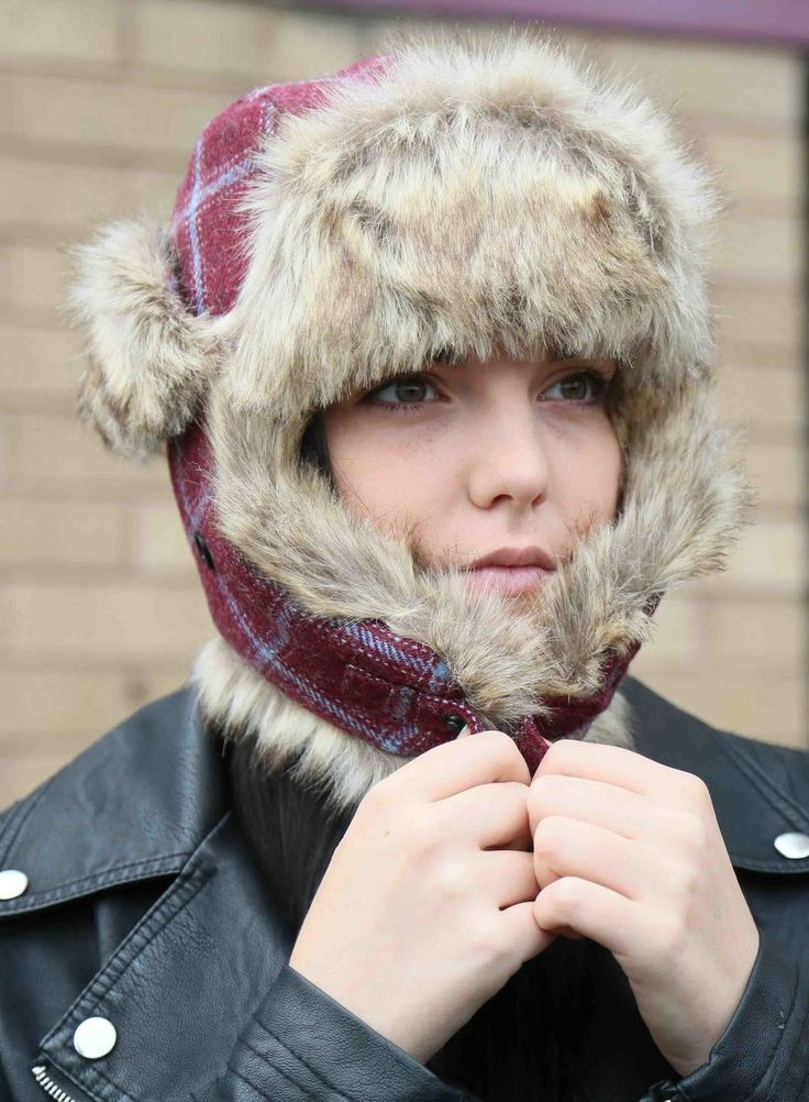 Trapper hat. Our super warm and cosy trapper hat in bespoke claret and blue tweed. With quilted lining and premium faux fur trim. turnstylewear.com