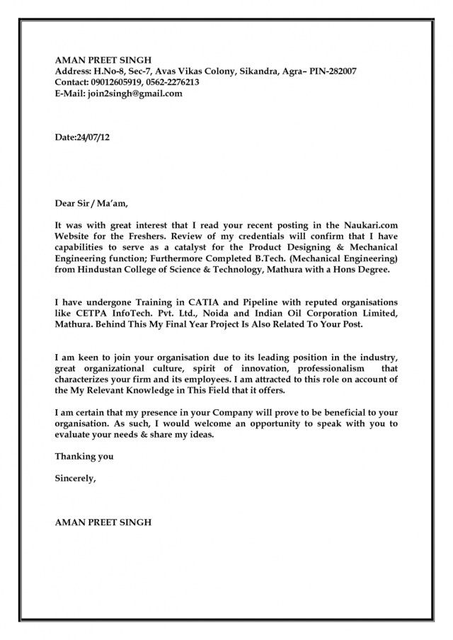 23+ Engineering Cover Letter Examples . Engineering Cover Letter ...
