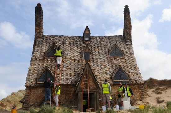 Harry Potter and the Deathly Hallows - Shell Cottage getting finishing touches! - Click image to find more Celebrities Pinterest pins
