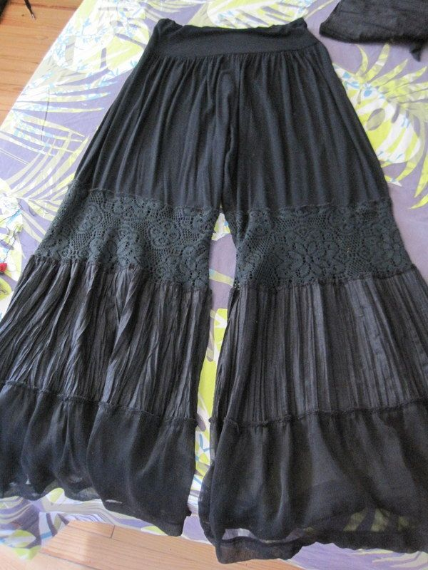 Gauze skirt made into pants. Love the panels inserted.