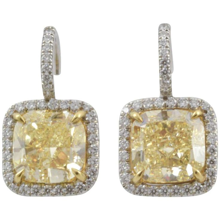 5.1 Carat Fancy Yellow Cushion Cut Diamond Gold Earrings 1