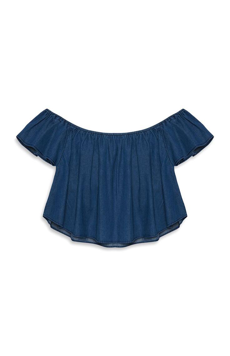 Primark - Blauw denim Bardot-topje