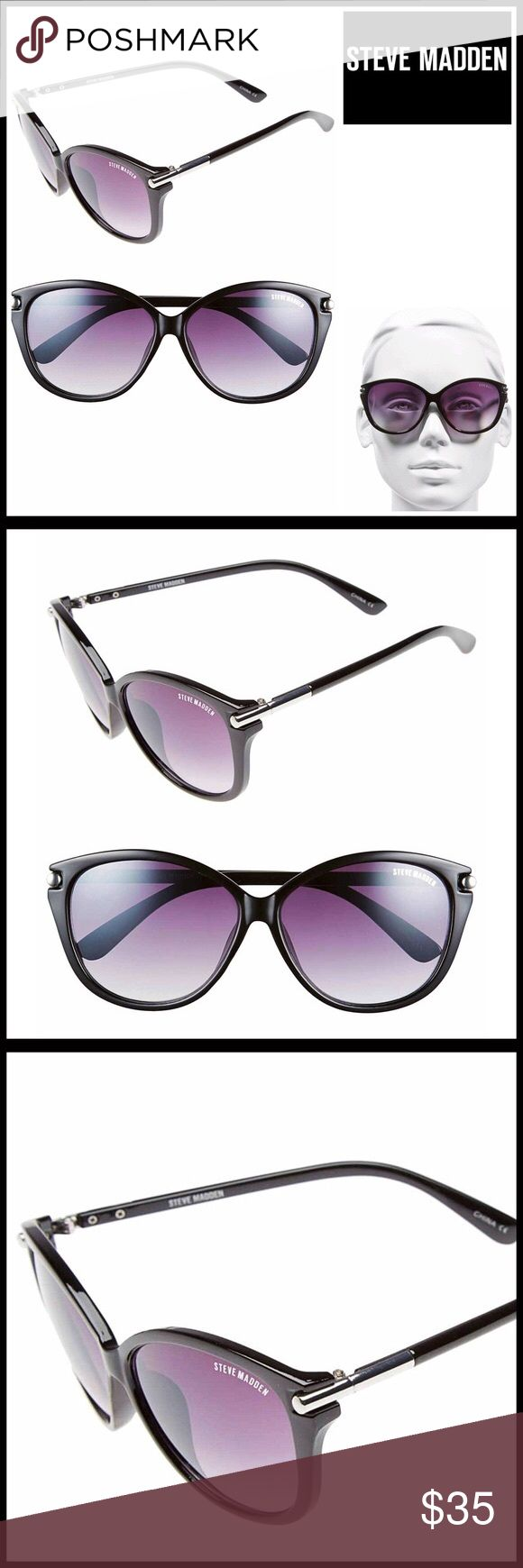 STEVE MADDEN SUNNIES Sun Glasses 💟NEW WITH TAGS💟  RETAIL PRICE: $48   STEVE MADDEN SUNNIES Sun Glasses  * 100% UV protection, non-polarized  * Tinted shades  * Size: Approx 57-13-130mm (eye-bridge-temple)  * Plastic frame  * Logo detail  * Gray gradient lens  * Retro chic silhouette   Material: plastic  Color: Black Item#:   🚫No Trades🚫 ✅ Offers Considered*✅  *Please use the blue 'offer' button to submit an offer Steve Madden Accessories Sunglasses