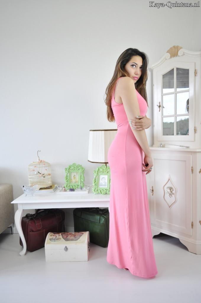 outfit met roze jurk