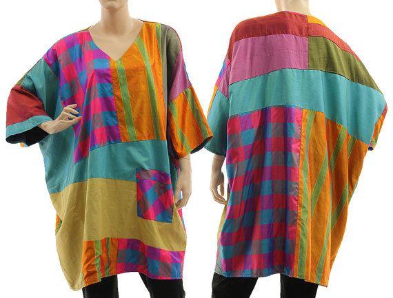 Boho multi coloured silk tunic oversized patchwork von classydress