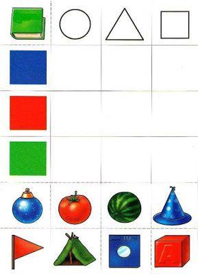 Mathe, Formen 2D, Kombinatorik, zuordnen, kombinieren, verbinden von Farbe und Form aus dem Alltag, Vorschule, Klasse 1, Geometrie, Arbeitsblatt