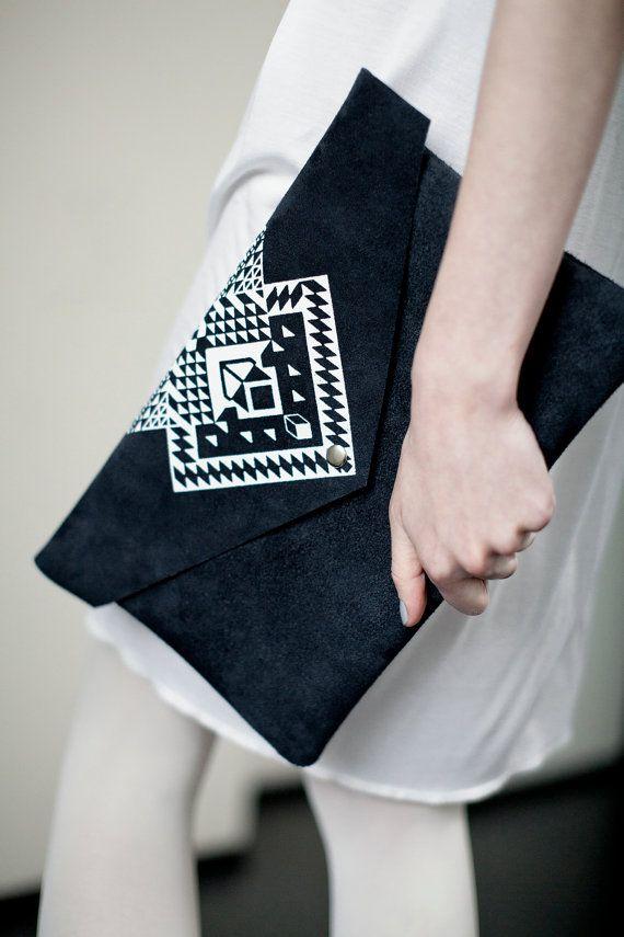Envelope Bag Geometrical Illusion Leather Suede Dark - Coriumi on Etsy