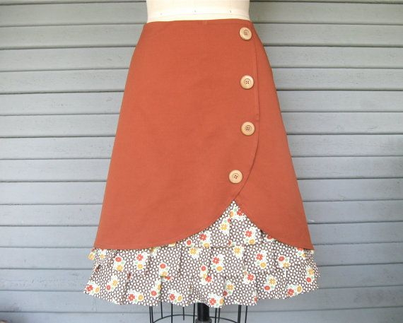 Orange Blossom ruffle front skirt