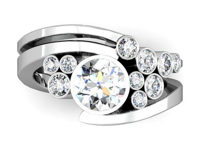 Custom Cluster Diamond Engagement Ring