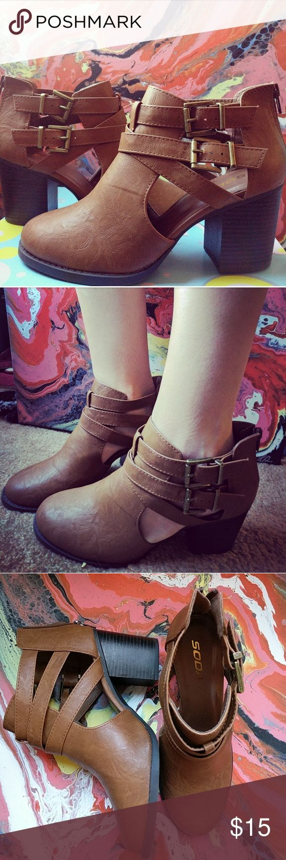 Soda Shoes Brown leather booties Tilly's Shoes Ankle Boots & Booties