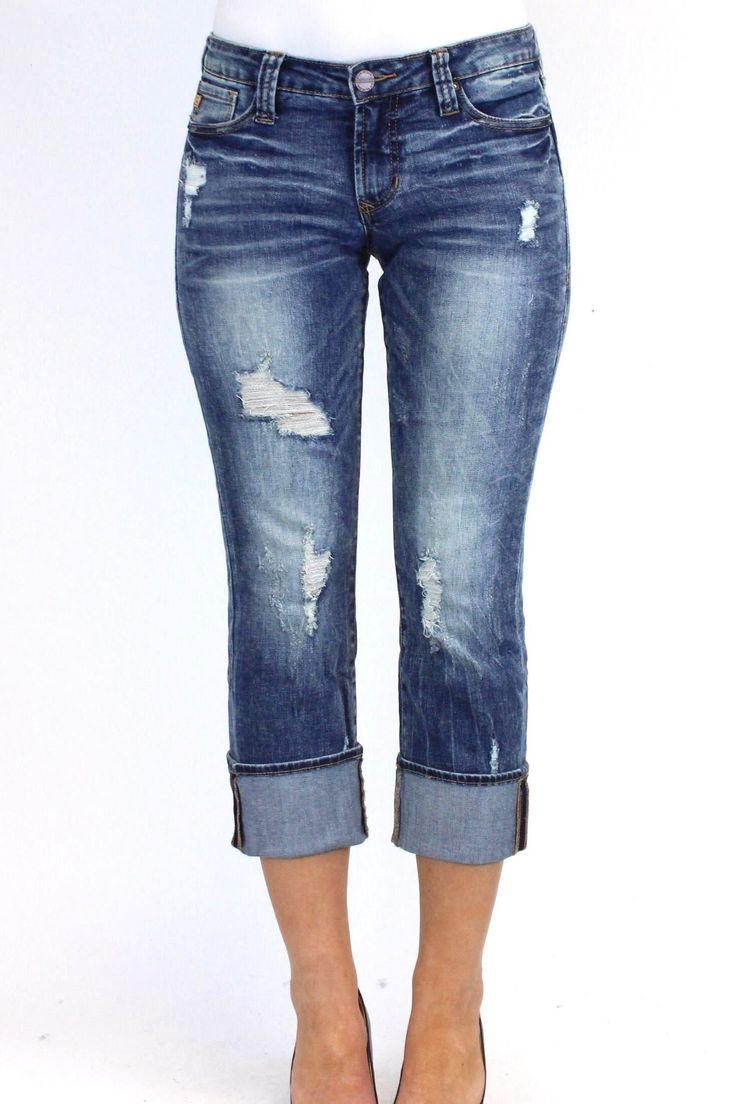 The Playback Cuffed Jean by Dear John features a flattering curvy fit and a straight leg. It has the easy-going feel of a boyfriend jeans, with a more feminine touch. Front distressing gives this stre