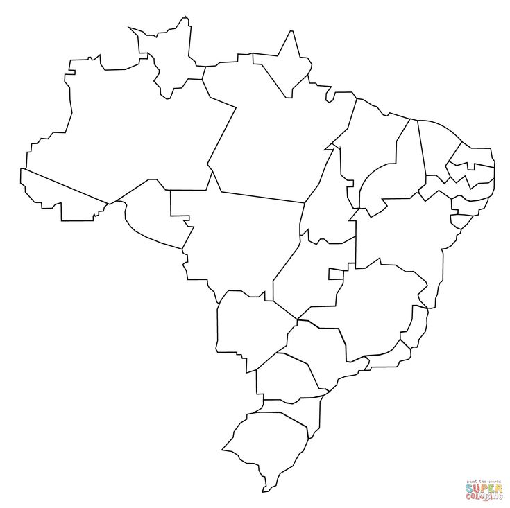 Outline Map Of Brazil With States Super Coloring