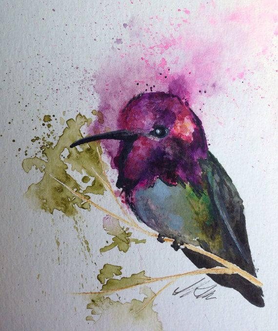 Anna's Hummingbird original watercolor painting 6x9