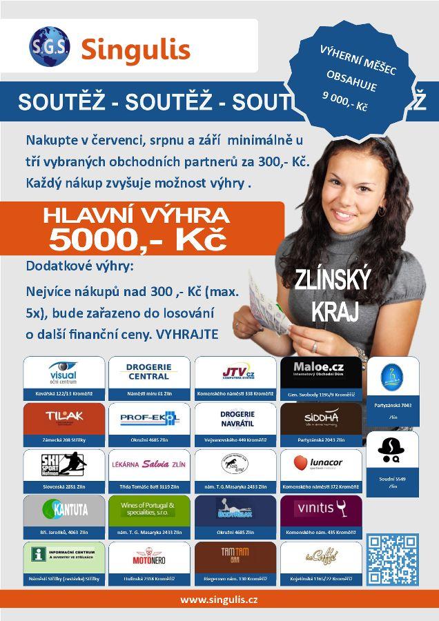 Obchodní partneři ve Zlínském kraji pro vás pořádají soutěž.  Hlavní výhra je 5 000 Kč v hotovosti.  Nebojte se vyhrát a začněte soutěžit již dnes.