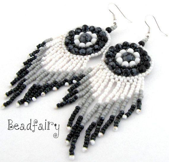 Greyscale earrings by BeadfairyStore on Etsy