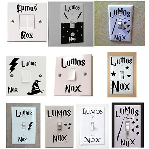 Harry Potter Lumos Nox Luz Interruptor Etiqueta Engomada Niños Habitación Decoración Para El Hogar