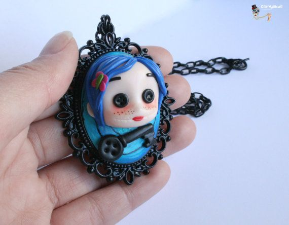 Coraline cameo necklace. by Clanyskull on Etsy