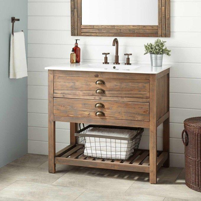 36 Quot Benoist Reclaimed Wood Vanity For Rectangular