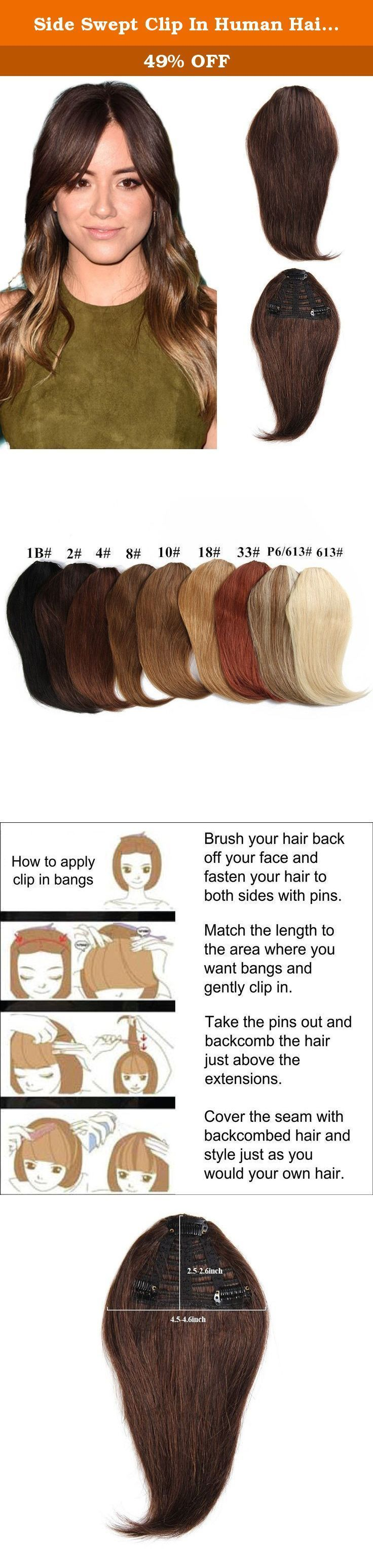 Page Swept Clip In Human Hair Bang Fringe Straight Hairpiece Extensions (2 # Dark Brown) by B ...