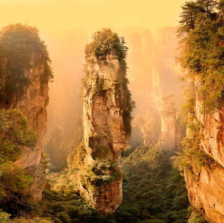 В китайской провинции Хунань есть уникальнейший парк Чжанцзяцзе. Неописуемое зрелище представляют собой горы – величавые каменные столбы, 800 метров высотой, острые вершины, множество пещер, водопадов, рек. Недоступные высокие вершины покрыты столетними соснами, их еще называют «Обителью богов». Те, кто посетил парк Чжанцзяцзе в Китае, говорят, что по впечатлениям это равносильно посещению галереи китайской живописи, только все здесь видишь воочию.   При съемках фильма «Аватар»…
