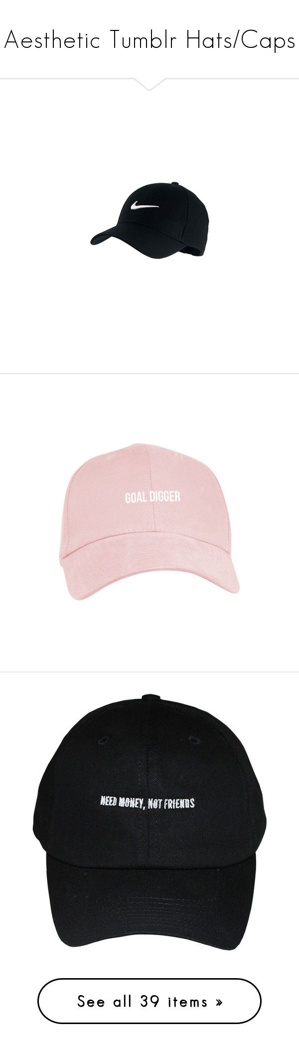 """Aesthetic Tumblr Hats/Caps"" by megsmulroy ❤ liked on Polyvore featuring accessories, hats, headwear, nike, nike cap, sport caps, nike hat, sports hats, white hat and distressed ball cap"