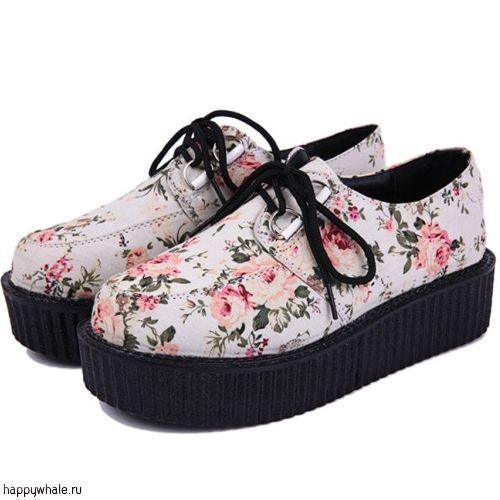 "Ботинки на платформе ""Цветы"""