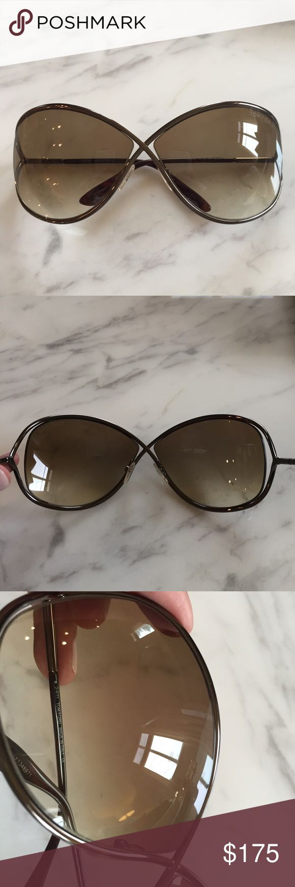 Tom Ford Miranda Sunglasses Like new condition! These are the bronzer shades. There is one teeny scratch on the right lens but it's micro fine and it was hard for me to even capture in the pic. The rest of the lens are perfect! Couldn't find the case so I'm going to send the one pictured. It's not perfect from being in handbags so FYI. No trades or returns. Tom Ford Accessories Sunglasses