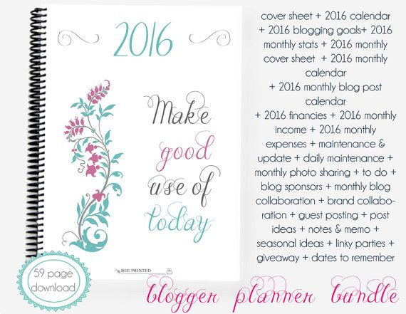 2016 Blogger Planner Bundle - Calendar Blog Planner - Organized Blogging - Instant Download - Printable PDF