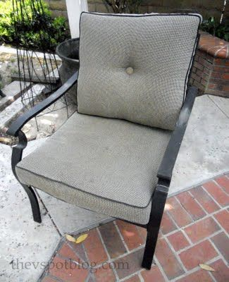 How to recover an outdoor cushion without sewing. Do I dare try?