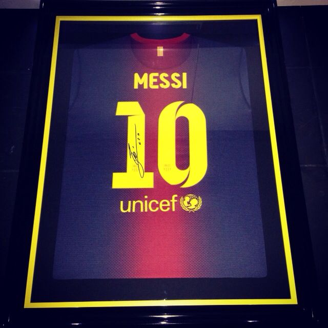 Messi top framed with matching slip frame