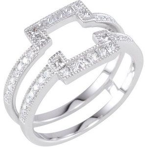 Solitaire Enhancer Ring Guard White Gold Princess Cut Diamonds Wrap Halo Style