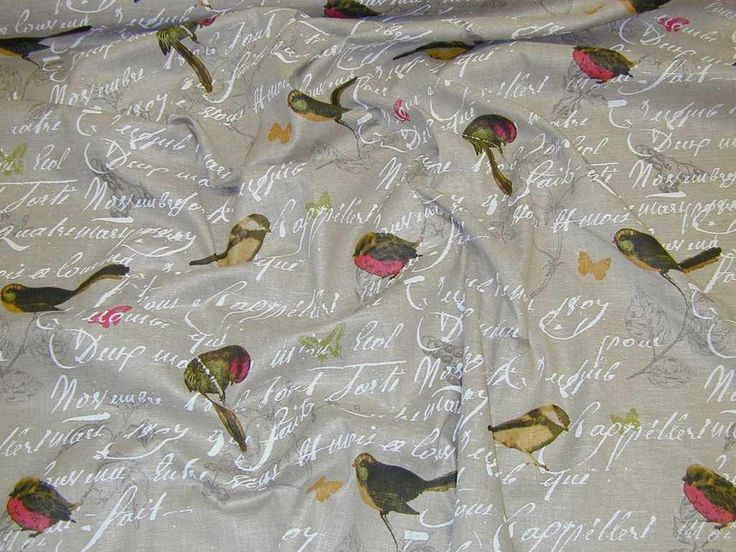 SHOWER CURTAIN...Bird natural curtain fabric ruffled