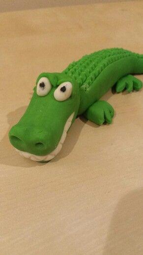 Jungle crocodile cake topper