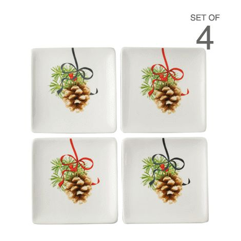 Set of 4 Pinecone Design Appetizer Plates reg.  $16.00 Product Number  1021199 Set of 4 beautiful plates, perfect for appetizers and desserts. #Stoneware. #Christmasdecor www.Facebook.com/shopavonwithdeon