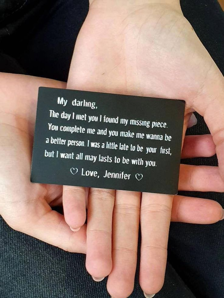 Personalized engraved wallet card couple husband