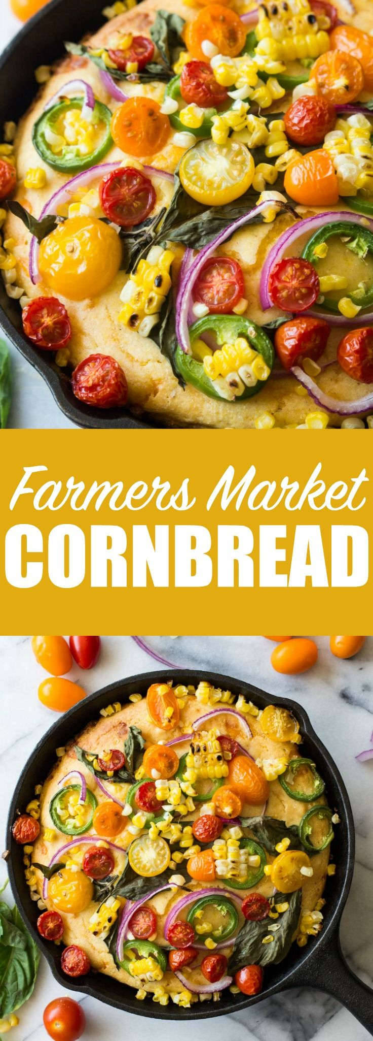 Love this! This cornbread is loaded with fresh grilled corn, cheese, and topped with farmers market finds! Tomato, jalapeño, red onion, fresh basil, and even more grilled corn! Make it your own by adding your own toppings!