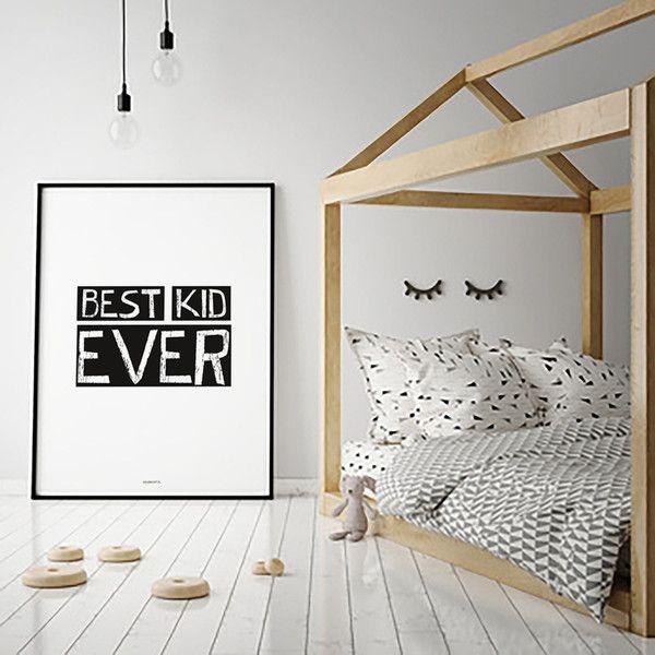 PLAKAT z napisem: BEST KID EVER - 40x50 cm - colormint - Ozdoby na ścianę