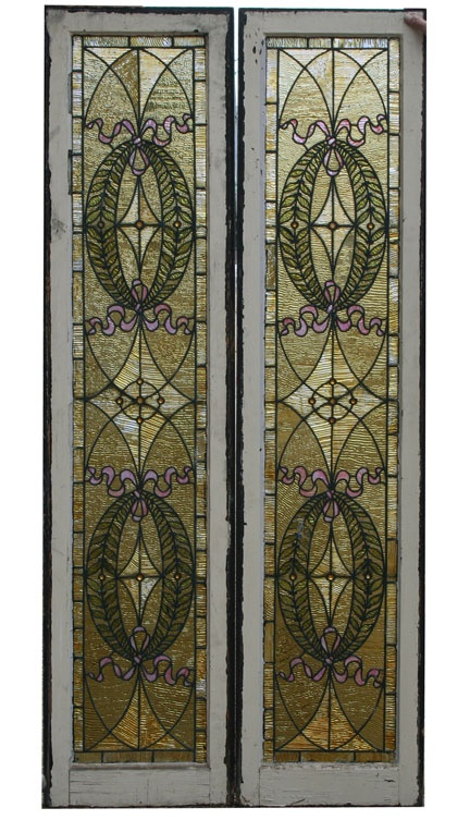 Antique Pair 3rd Street Stained Glass Sidelights   Wooden Nickel Antiques,  Cincinnati Ohio