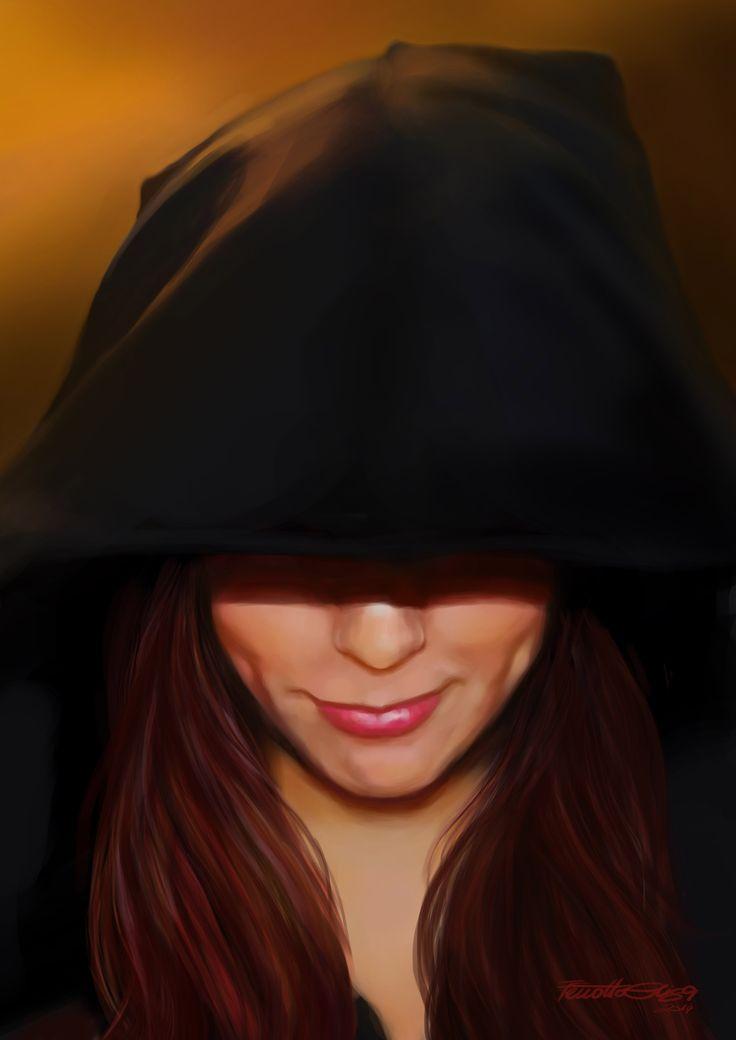 By Elisa Ferrotto  Pittura digitale : Volto di ragazza incappucciata / Digital Painting: strega Girl face hooded / Witch