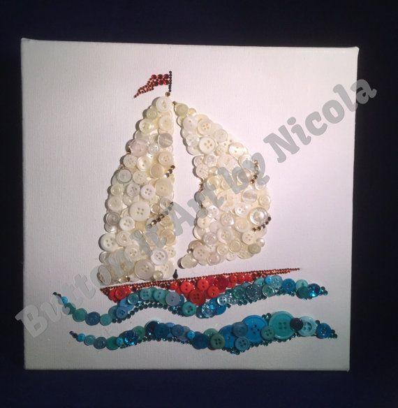 "Canvas sailing boat 10"" X 10"" Button Art"