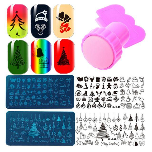 Hot Nail Stempelen Platen Kerst XMAS Nail Art Roestvrij Stempelen Template DIY Polish Met Stamper Schraper Nail Stamping Sets