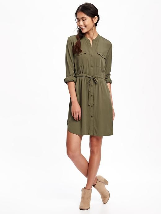 This shirt dress is so cute for fall and I love that olive green color!