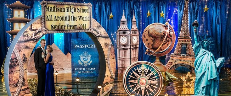 The travel the world prom theme has finally arrived. It's been a pretty popular choice for wedding themes in the last few years, especially the vintage ve