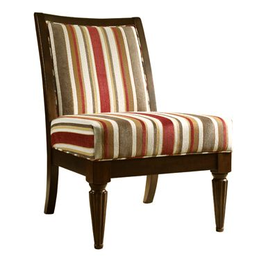Brown Amp Red Striped Armless Chair Armless Accent Chair