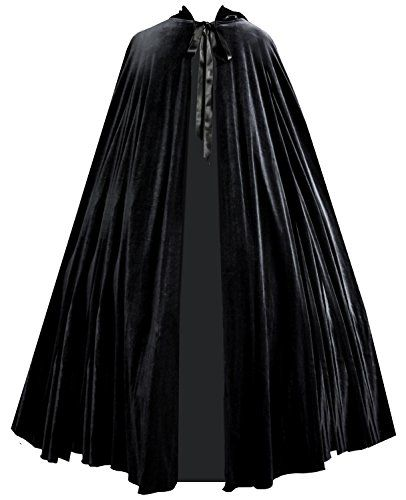 New Trending Outerwear: Victorian Vagabond Gothic Steampunk Royal Medieval Velvet Cape Cloak Black. Victorian Vagabond Gothic Steampunk Royal Medieval Velvet Cape Cloak Black   Special Offer: $119.00      311 Reviews Elegant Hooded Cape Measurements: Hood Height 13″, Length 55″Made Entirely of Our Finest Stretch Velvet in Dark Jet BlackFull Hood, Long Satin Ribbon TiesUnlined...