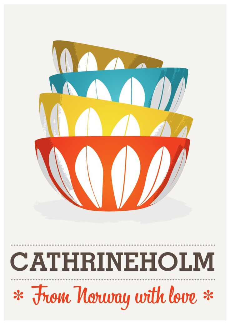 Cathrineholm,  Mid century poster,  scandinavian print,.  Art for Kitchen.   Retro print.  Cathrineholm from Norway  A3. $19.00, via Etsy.