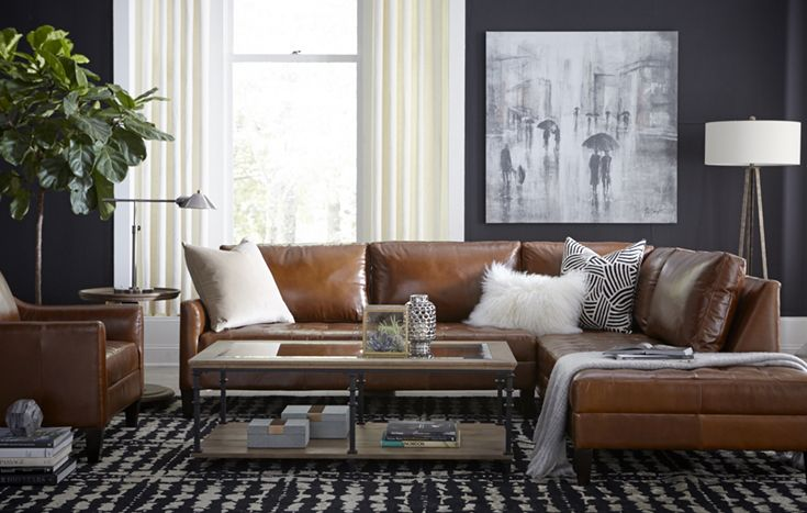 Create a contemporary appearance in your living space with our Parker sectional. With biscuit-tufted, top-grain aniline leather, and padded ski-slope arms, this piece boasts standout style. Shown in Amazonia Cognac leather.