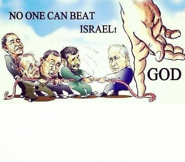 "Zechariah 12:3 ""On that day I will make Jerusalem an immovable rock. All the nations will gather against it to try to move it, but they will only hurt themselves."" That is one of God's promise and prophesy for His nation and His people. ..I'm on the winning side."