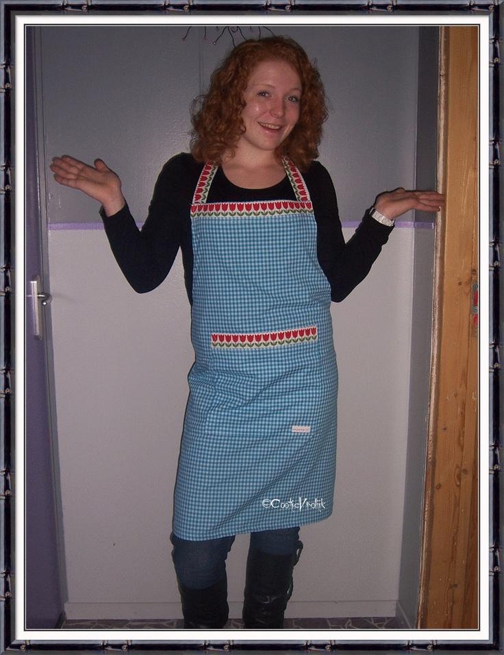 Keukenschort blauw klein ruitje